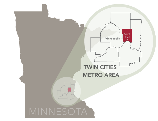 Ramsey County location map within Minnesota and the seven county metro.