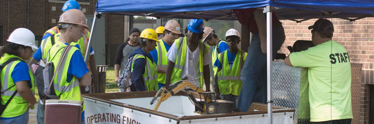 Youth job seekers at a construction operating engineers training event