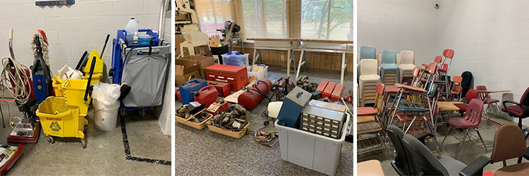 Items available at auction including cleaning supplies, tools and chairs