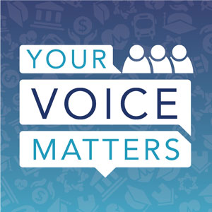 Blue box with Your Voice Matters text