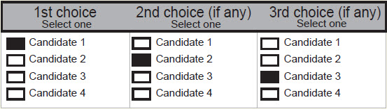 Example of a ranked voting ballot