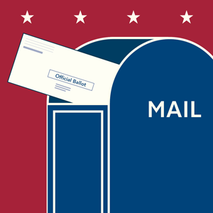 Absentee ballots going in to a US Mail box.