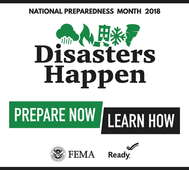 Disasters Happen. Prepare Now. Learn How. National Preparedness Month 2018 logo