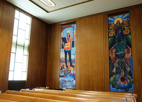 West side view of the murals in council chambers