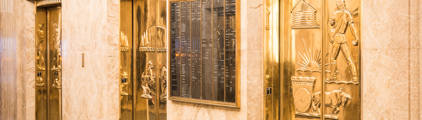 Bronze elevator doors in Saint Paul City Hall - Ramsey County Courthouse depict local history