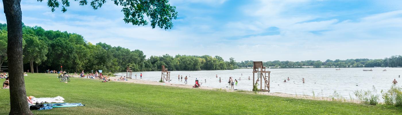 Swimming beach at Long Lake Regional Park