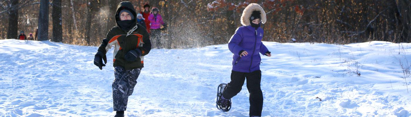 Youth snowshoe class at Tamarack Nature Center.