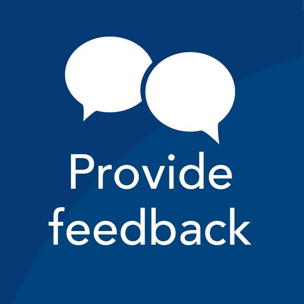 Provide feedback Icon in blue box