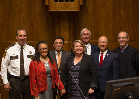 Sheriff Bob Fletcher, Commissioner Toni Carter, Commissioner Rafael Ortega, Commissioner MatasCastillo, Commissioner McDonough, County Attorney John Choi and Chief Judge John H. Gunthmann