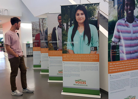 Green Card Voices exhibit at Ramsey County Library