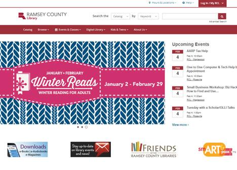 Screenshot of Ramsey County Library website
