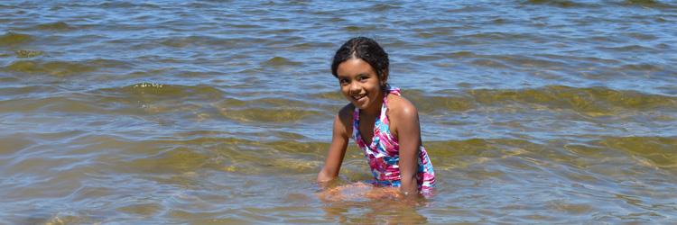Girl at swimming beach