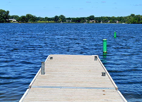 Boat launch dock at a lake