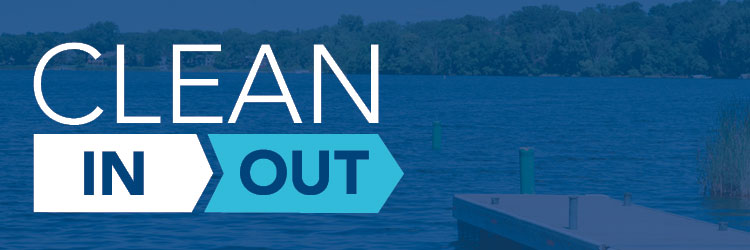 Graphic showing Clean In, Clean Out icon over a background showing a dock and lake.