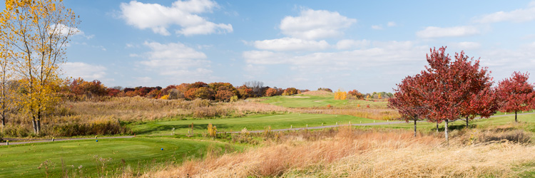 Fall colors at The Ponds at Battle Creek golf course