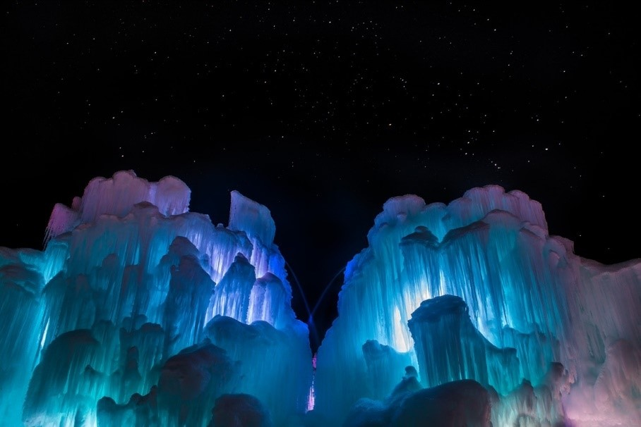 Ice Castle exhibit consisting of ice and colorful LED lights