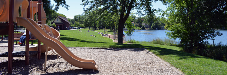 Lake Josephine play structure and beach