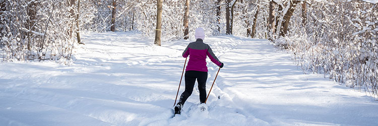 Woman cross-country skiing through a snowy Ramsey County park