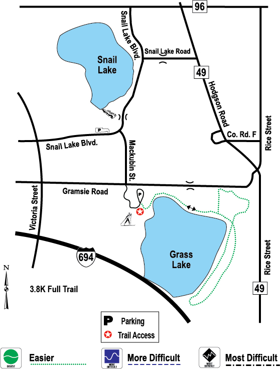 Grass Lake ski trail map