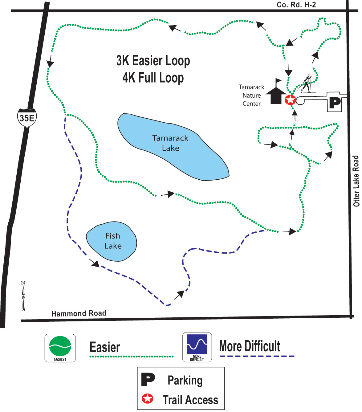 Tamarack Nature Center ski trail map