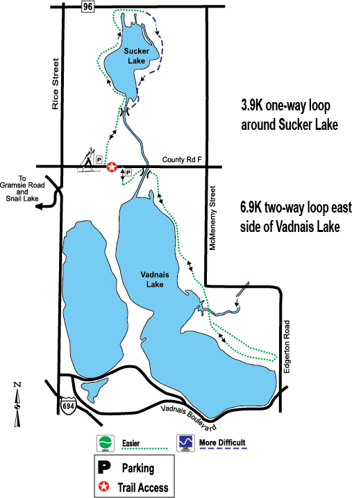Vadnais-Sucker Lakes ski trail map