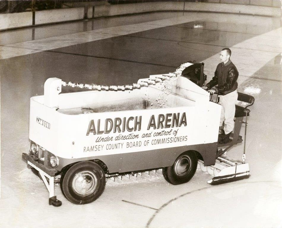 Original Zamboni being used at Aldrich Arena in the 1960s