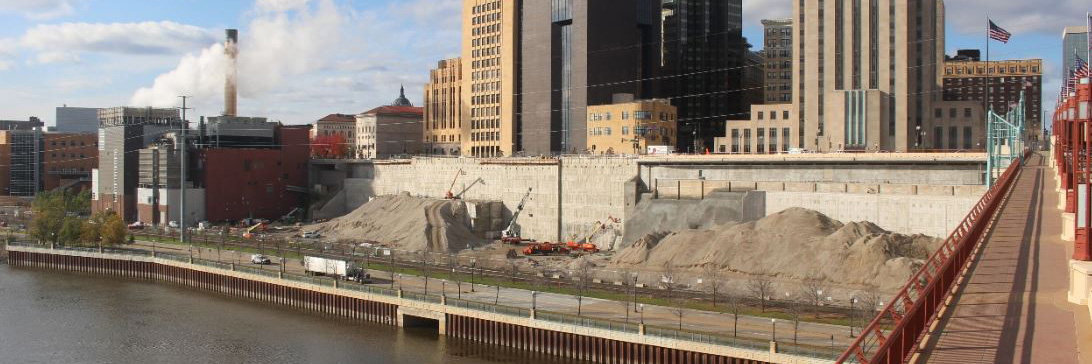 Riverfront Properties retaining wall construction as of October 2017