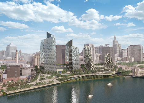 AECOM rendering of proposed Riverfront Properties development in downtown Saint Paul