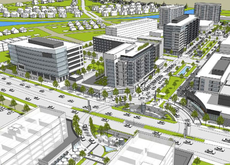 Rendering of proposed Town Center at Rice Creek Commons as of March 2018