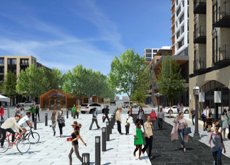 Rendering of proposed Rice Creek Common's town center