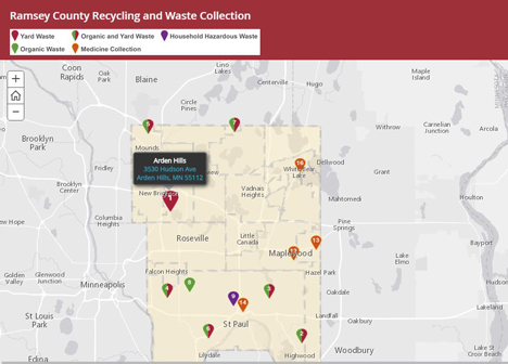 Interactive recycling and waste collection sites map