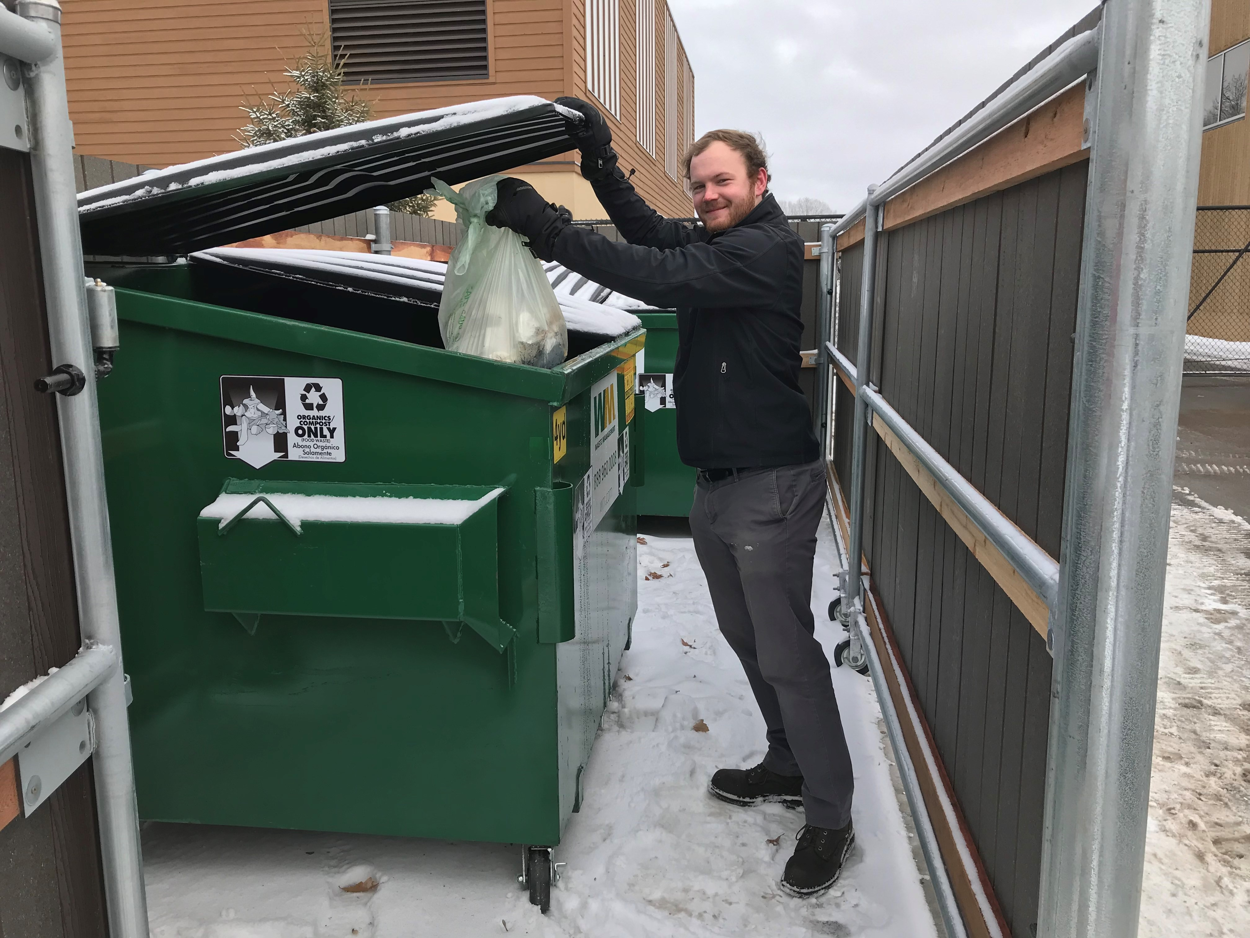 Food scraps being dropped off at a new site