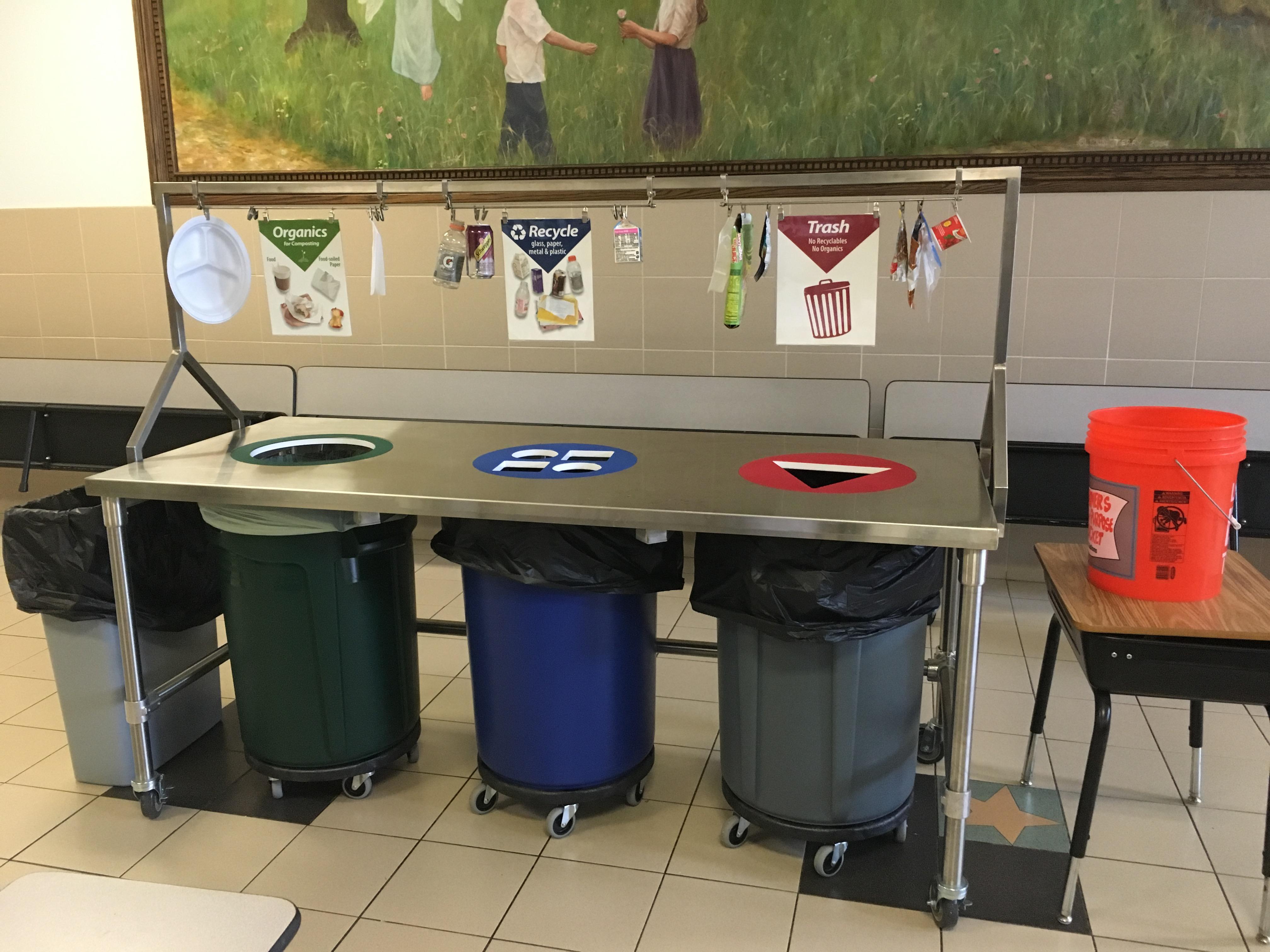 School waste sorting bins