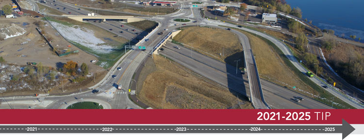 2021-2025 TIP. Image of I-694 and Rice Street interchange project.