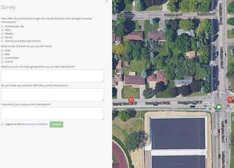 Screenshot of interactive comment map and survey