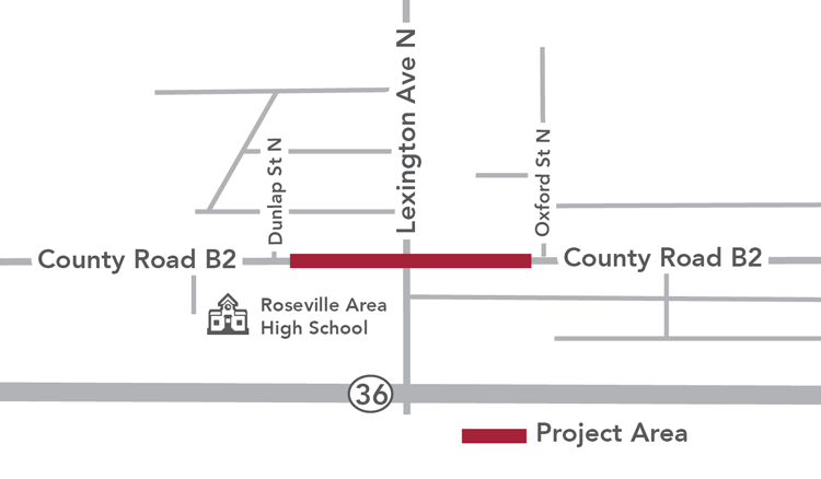 Project map showing County Road B2 and Lexington Avenue intersection