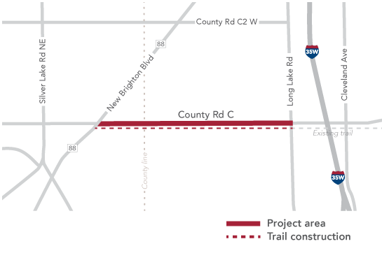 County Rd C map depicting the project area between New Brighton Blvd. and Long Lake Rd.