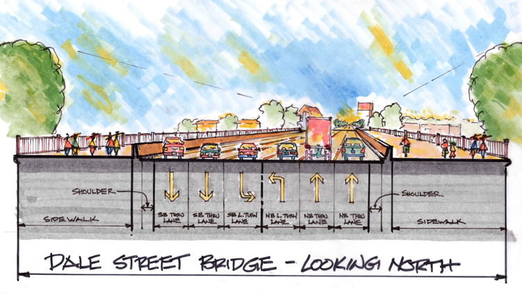 Dale Street Bridge concept drawing, looking North