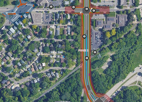 Screen capture of comment map showing Lexington Parkway and Montreal Avenue intersection design options