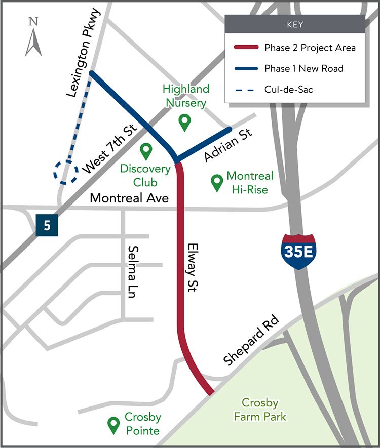 Map showing project area extending Lexington Parkway from Adrian Street to Shepard Road utilizing Elway Street
