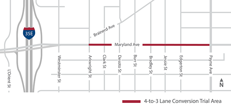 Map showing project area along Maryland Avenue from Arkwright Street to Payne Avenue