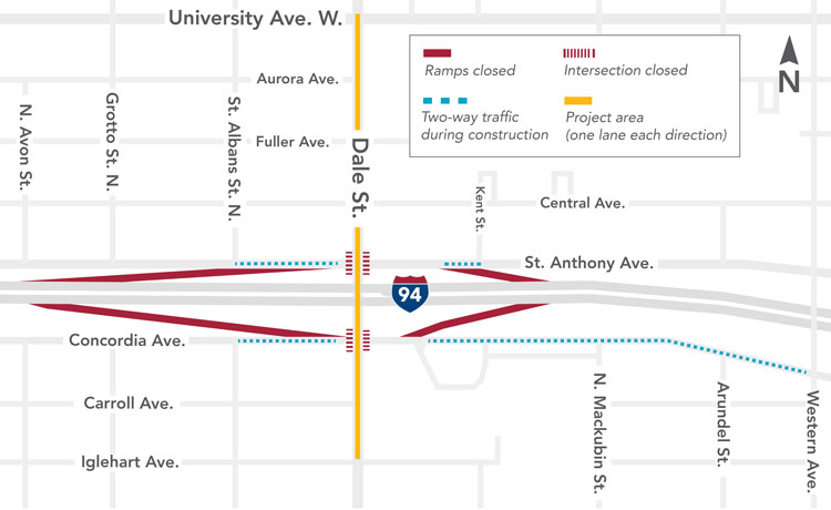 Map showing traffic impacts in Dale Street project area beginning March 23