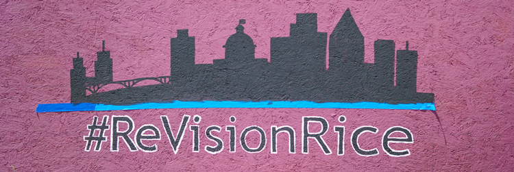 Mural artwork with skyline and words #ReVisionRice