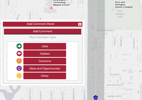 Screenshot of interactive comment map showing Rice Street with options to add likes, dislikes, concerns, ideas and opportunities