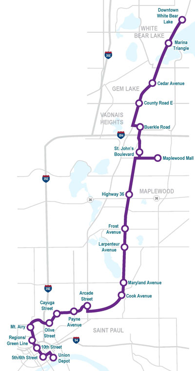Rush Line Route Map (Sept. 2018)