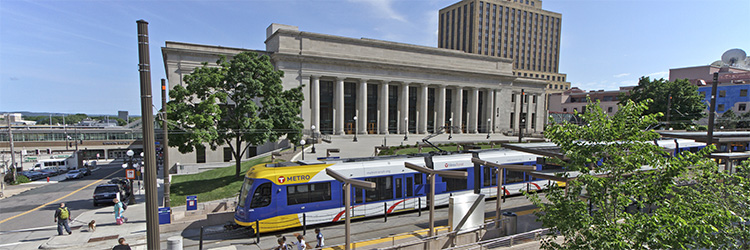 Union Depot and METRO Green Line train