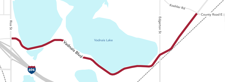 Map showing project area along Vadnais Boulevard from Rice Street to County Road E