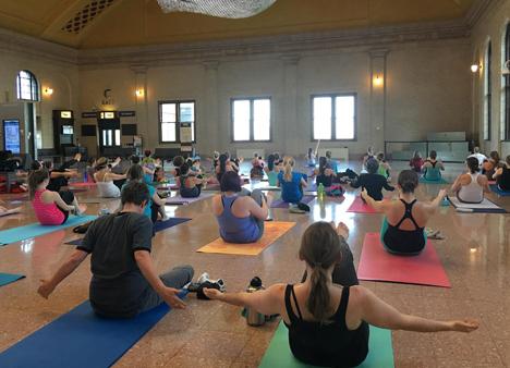Yoga sculpt participants in class at Union Depot