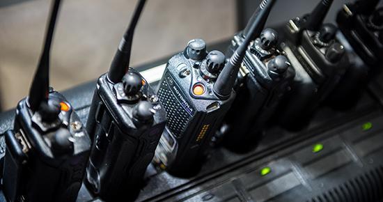 Six handled radios in a row