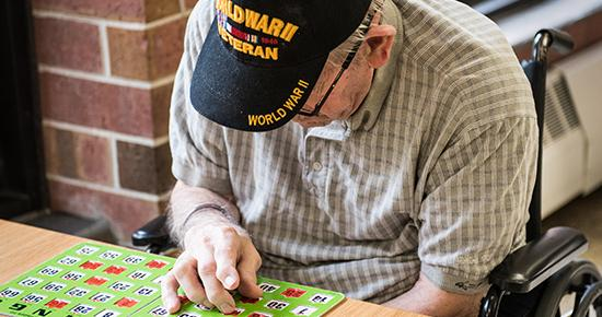 Veteran playing bingo